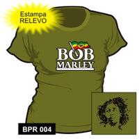 Camiseta Stamp Rockwear Feminina Baby Look Bob Marley Verde Tam P