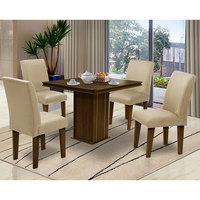 Mesa para Sala de Jantar com 4 cadeiras Saint Thomas – Dobuê Movelaria - Castanho / Bege