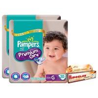 58340eee9 Kit Fraldas Pampers Premium Care Pacotão G 20 Unidades 2 Pcts + Pomada Óleo  de Amêndoas