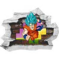 Adesivo 3D Buraco na Parede Dragon Ball Z Son Goku