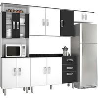Cozinha Compacta Poliman Suíça Branco e Preto Paneleiro Duplo Armário Triplo Armário Geladeira e Balcão 4 Peças