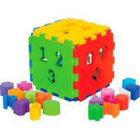 Cubo Didático Com 18 Peças Para Encaixar Mercotoys Diversos