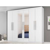 Guarda-Roupa Casal Araplac Bello Com Espelho 6 Portas 4 Gavetas Branco