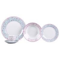 Aparelho De Jantar Chá 30 Peças Casambiente Porcelana Redondo Colorido Princess