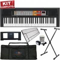 Kit Teclado Arranjador Yamaha Musical PSR-F50 Com fonte + Suporte + Capa