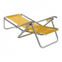 Cadeira de Praia 5 Posições Alumínio Extra Larga com Apoio Sannet Amarelo