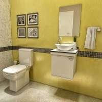 Gabinete Para Banheiro Vtec Alcor com Cuba e Espelho 35x50cm