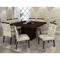 Conjunto De Mesa Liptus Isis 1.40m Com 8 Cadeiras Estofadas Betina Outono Wengue