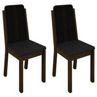 Kit com 2 Cadeiras Madesa Débora Stella 4205 Imbuia/Preto