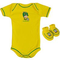 Kit Brasil Torcida Baby Body Curto 033A Unissex 2 Pçs