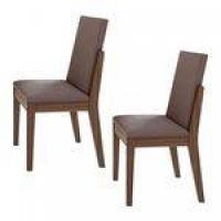 Conjunto 2 Cadeiras Lira Móveis Lopas Imbuia Naturale/Velvet Rosê