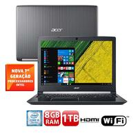 Notebook Acer Aspire A515-51-51UX Intel Core i5-7200U 8GB 1TB 2,5GHz Led 15.6 Windows 10 Prata Escuro