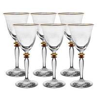 Conjunto de Taças para Vinho Tinto Rona Ferrara com Detalhes Dourados 260 ml 6 Peças