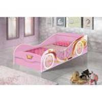 Cama Carruagem Infantil com Baú Rosa - JA Móveis