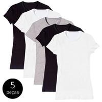 Kit com 5 Camiseta Baby Look Básica Part.B Gola Redonda Colors Feminina