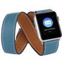 20c6021f36d Pulseira Em Couro Estilo Hermes Double Tour Para Apple Watch 38mm Azul