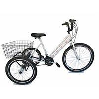 Bicicleta Triciclo Valdo Bike Aro 26 21 Marchas Branca e Floral