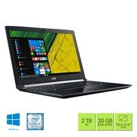 Notebook Acer A515-51G-70PU Intel Core i7-7500U 20GB 2TB 2,7GHz 15.6 Full HD Windows 10 Preto