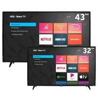 "Smart TV LED 43 Full HD AOC Roku 43S5195/78 + TV Smart AOC Roku LED 32"" 32S5195/78"