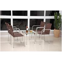 Conjunto De Mesa Para Jardim Alegro Móveis Flora Alumínio Com 4 Cadeiras Castanho