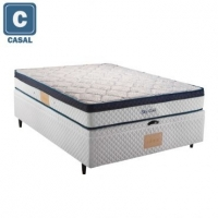 Cama Box Baú Casal Herval + Colchão Sky Gold Mola Ensacada 70x138x188cm