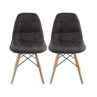 Cadeira Decorativa 2 Peças Inovakasa Eames Botone Marrom