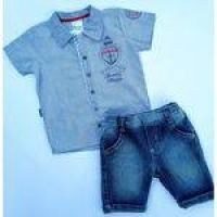 Conjunto Social Bebe Menino Paraiso Bermuda Jeans E Camisa