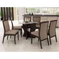Conjunto De Mesa Liptus Luiza 6 Cadeiras Estofadas Ondas Cinza Wengue