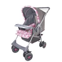 Carrinho de Bebê Galzerano Milano Reversível Cinza/Rosa