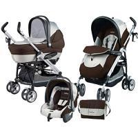 Carrinho de Bebê Burigotto P3 Naked Marrom + Berço Portátil + Bebê Conforto Primo Viaggio Tri-Fix