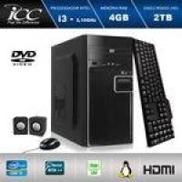 Computador Desktop Icc Iv2343c Intel Core I3 3.20 Ghz 4gb HD 2tb Dvdrw, Teclado, Mouse, Cx De Som Dmi Fullhd