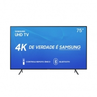 Smart TV LED 75 Samsung RU7100 UN75RU7100GXZD Ultra HD 4K Wi-Fi Conversor Digital Preta