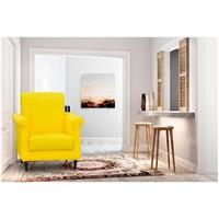 Poltrona Decorativa Corino Matrix Betina Amarelo