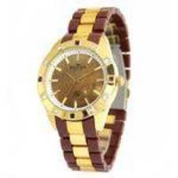 Relógio Feminino Backer 3973134F MR Munich Marrom e dourado com pedras