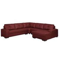 Sofá de Canto 6 Lugares 280cm com Chaise Concord Couro Vermelho - Gran Belo