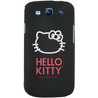 Capa para Celular Case Mix Galaxy S3 Hello Kitty Cristais Policarbonato Preta