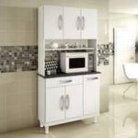 Armário para Cozinha 6 Portas 1 Gaveta Lírio Kaiki Móveis Branco