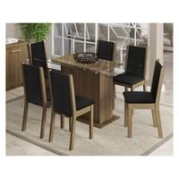 Conjunto De Mesa Com 6 Cadeiras Estofadas Madesa Aline Rustico e Preto