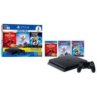 Playstation 4 Mega Pack V15 1tb 1 Controle Preto Sony Com 3 Jogos Ps Plus