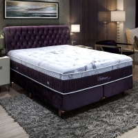 Conjunto Cama Box King Size Baltimore Hi-tech Com Duplo Molejo 1,93M