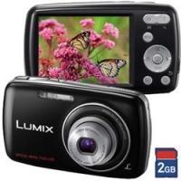 Câmera Digital Panasonic Lumix DMC-S1LB-K 12.1MP Preta + Cartão 2GB
