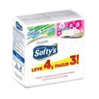 Lenços de Papel Softy's Dualette de Bolso 4 Caixas com 15 Unidades cada