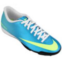 Chuteira Society Nike Mercurial Vortex TF Masculina Azul Claro e Verde Claro ac39a1a9c9095