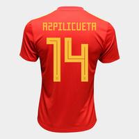 Camisa Seleção Espanha Home 2018 n° 14 Azpilicueta Torcedor Adidas Masculina