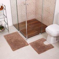 Jogo de Tapetes para Banheiro Arezo New Bege 2 Peças