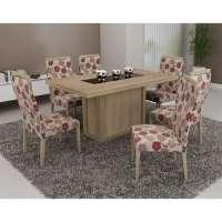 Conjunto De Mesa Liptus Isis Com 6 Cadeiras Estofadas Karina Floral Vermelho Corazzi
