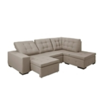 Sofa de Canto retratil e reclinavel com chaise Moscou Palha B79