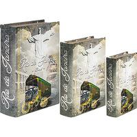 Caixas Decorativas Oldway Rio de Janeiro Cristo Book Box Cinza 3 Peças