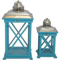 Conjunto Lanternas Decorativas Oldway Azul 2 Peças