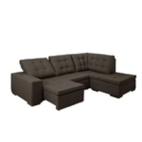 Sofa de Canto retratil e reclinavel com chaise Moscou Marrom B80